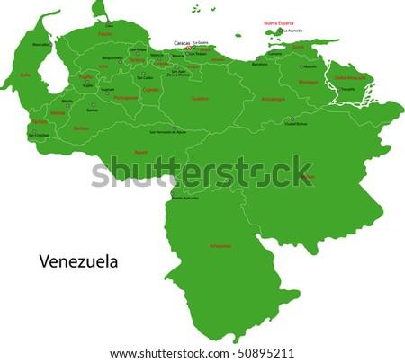 Administrative divisions of Venezuela - stock photo