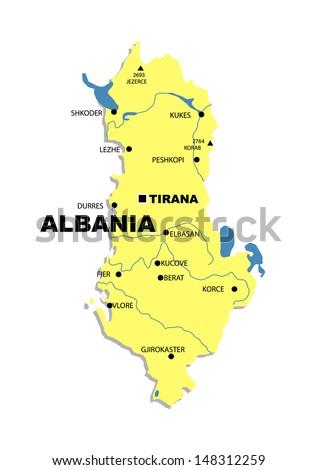 Administrative map of Albania - stock photo