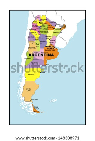 Administrative map of Argentina - stock photo