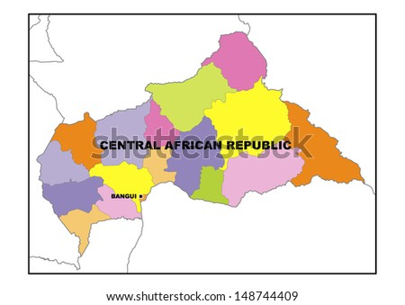 Administrative map of Central African Republic - stock photo