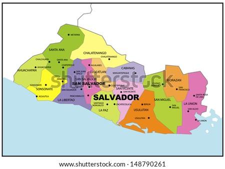Administrative Map El Salvador Stock Illustration 148790261