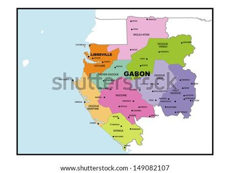 Administrative Map Gabon Stock Illustration 149082107 Shutterstock