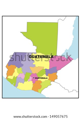 Administrative Map Guatemala Stock Illustration 149057675 Shutterstock