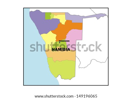 Administrative map of Namibia