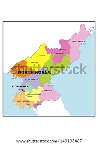 Administrative Map North Korea Stock Illustration 149193467