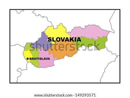 Administrative map of Slovakia - stock photo