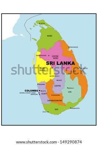 Administrative Map Sri Lanka Stock Illustration 149290874 Shutterstock