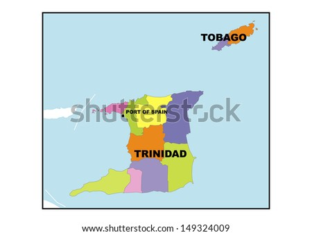 Administrative map of Trinidad and Tobago