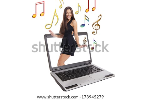 Administrative woman smiling - stock photo