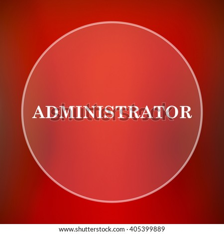 Administrator icon. Internet button on red background.