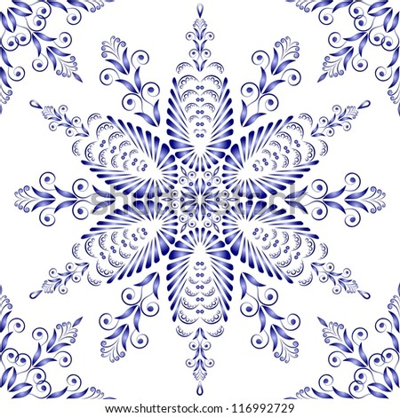 Admirable square blue pattern on a white background - stock photo