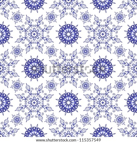 Admirable square blue pattern on a white background. Seamless - stock photo