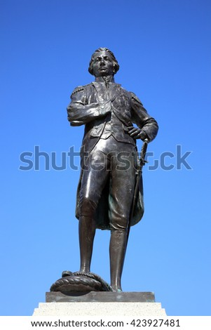 Admiral Lord Horatio Nelson statue in Old Portsmouth unveiled in 1805 commemorating his last walk to HMS Victory and his victory and death at the Battle Of Trafalgar