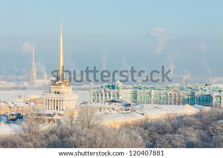 Admiralty and Peter, Hermitage and Paul Fortress in winter. View from St. Isaac's Cathedral, St. Petersburg, Russia - stock photo
