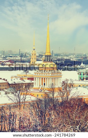 Admiralty ,Peter and Paul Fortress in winter. View from St. Isaac's Cathedral, St. Petersburg, Russia. Vintage picture - stock photo