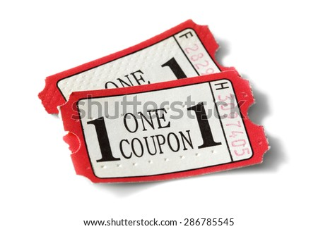 Admission coupon or ticket isolated on white - stock photo