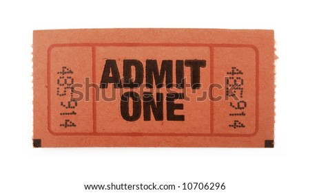 Admission ticket to an event isolated on white - stock photo