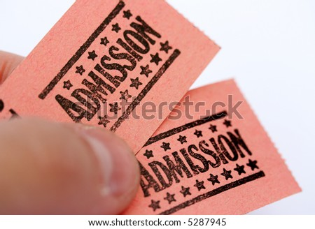 admission tickets for cinema or other event