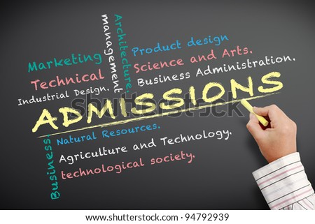 Admissions University written on chalkboard - stock photo