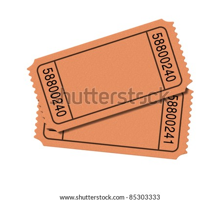 Admit one blank movie tickets isolated on white background representing two stubs for show business to enter the movies at the cinema or theatrical play.