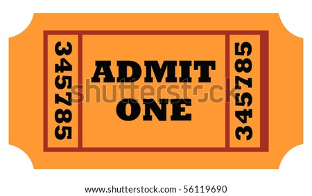 Admit one entrance ticket isolated on white background. - stock photo