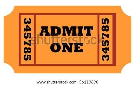Admit one entrance ticket isolated on white background. - stock photo