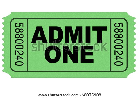 Admit one movie ticket green isolated on white environment - stock photo
