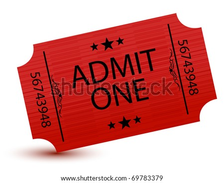 Admit one movie ticket isolated on white - stock photo
