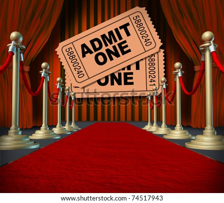 Admit one pass multi movie tickets on theatrical red velvet curtains and cinema drapes. - stock photo