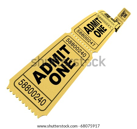 Admit one pass multi movie tickets yellow isolated on white - stock photo