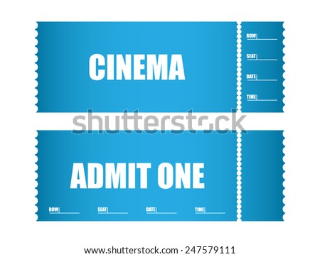admit one ticket cinema tickets - stock photo
