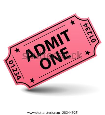 Admit one ticket illustration - stock photo