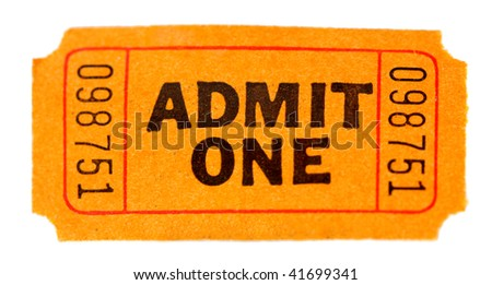Admit one ticket isolated - stock photo