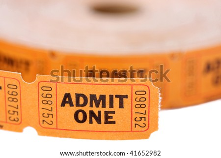 Admit one tickets roll - stock photo