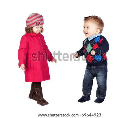 Adoable couple of babies isolated on a over white background - stock photo