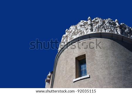 Adobe architecture in Santa Fe, New Mexico - stock photo