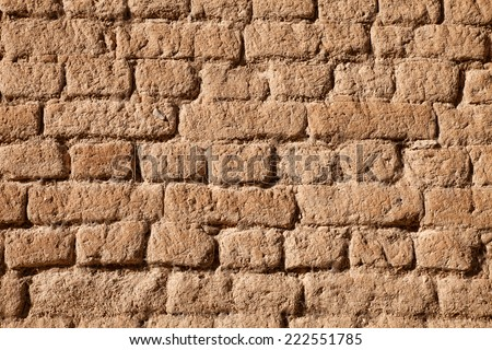 Adobe brick wall detail for background or texture