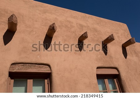 adobe details in Santa Fe, New Mexico - stock photo