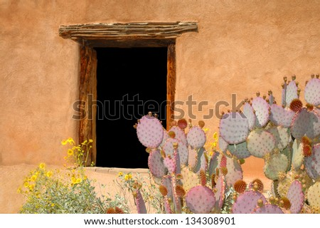 Adobe House Doorway with Prickly Pear Cactus - stock photo