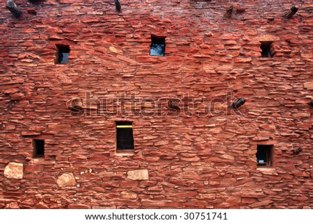 Adobe, Pueblo-style architecture of Hopi House, Grand Canyon National Park - stock photo