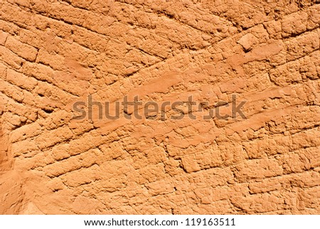 Adobe Wall at Pecos National Historic Park near Santa Fe, New Mexico, USA - stock photo