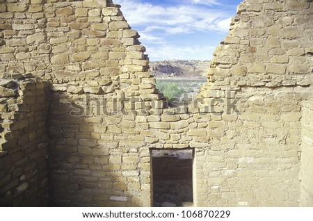 Adobe walls and doorway, circa 1060 AD, Chaco Canyon Indian ruins, The Center of Indian Civilization, NM - stock photo