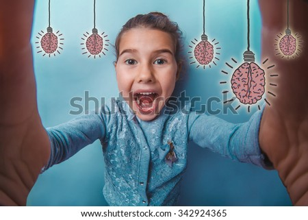 adolescence girl opened her mouth laughing photographed herself joy happiness brain bulb creative idea