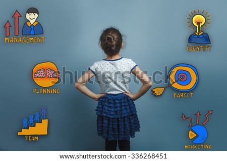 adolescence girl put her hands on her hips and looking in front of a collection of business icons management team goal sketch - stock photo