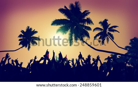 Adolescence Summer Beach Party Outdoors Community Ecstatic Concept - stock photo