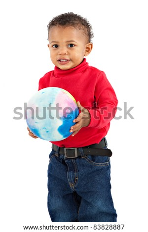 Adorable African American Boy Playing Bounce Ball Isolated on White Background - stock photo