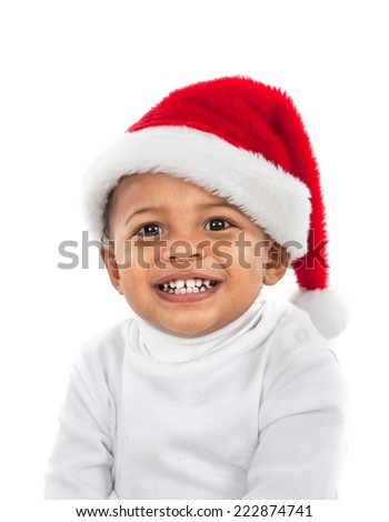 Adorable African American Boy Wearing Christmas Santa Hat Laughing on White - stock photo