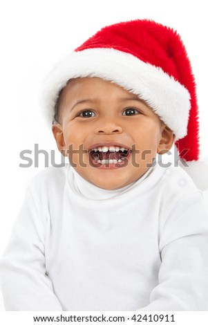 Adorable African American Boy Wearing Christmas Santa Hat Laughing on White