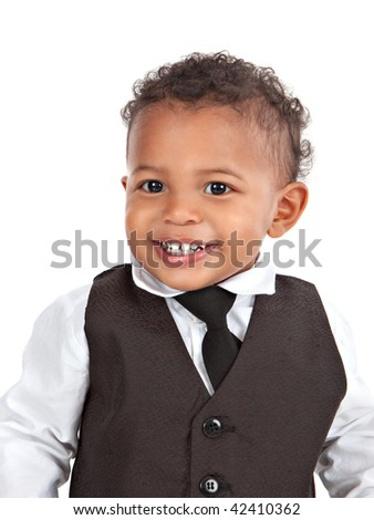 Adorable African American Boy Wearing Formal Wear Portrait Isolated on White - stock photo