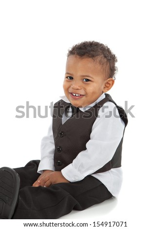 Adorable African American Boy Wearing Formal Wear Sit Portrait Isolated on White - stock photo